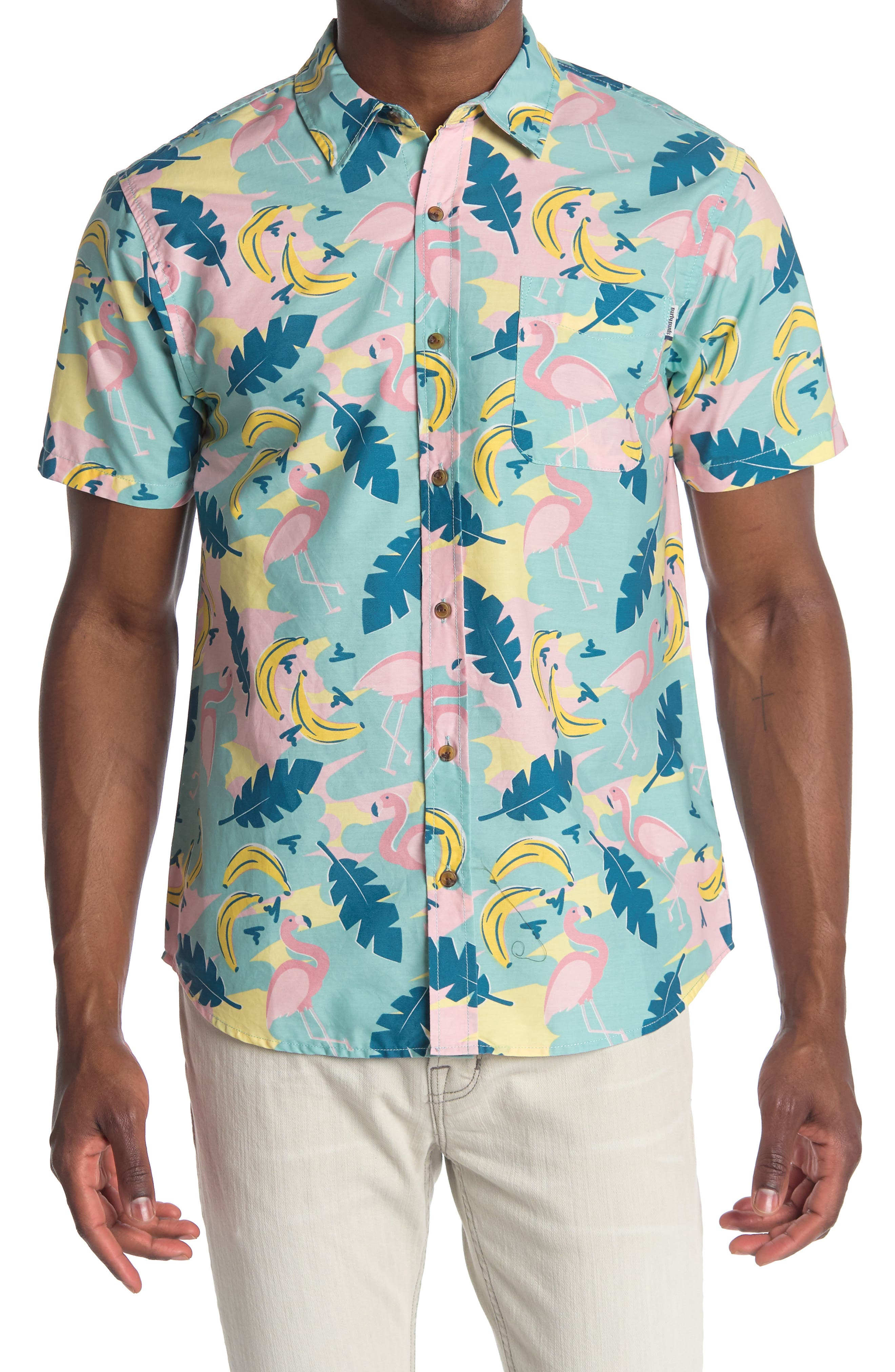 Image of PARTY PANTS Champions Tropical Print Short Sleeve Shirt
