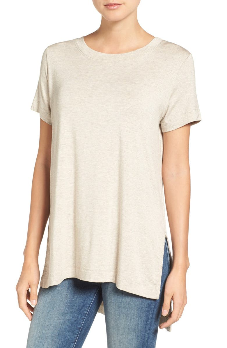 AMOUR VERT Paola High/Low Tee, Main, color, OATMEAL