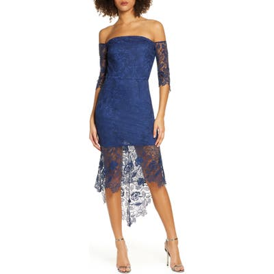 Chi Chi London Korina Off The Shoulder Lace Cocktail Dress, Blue