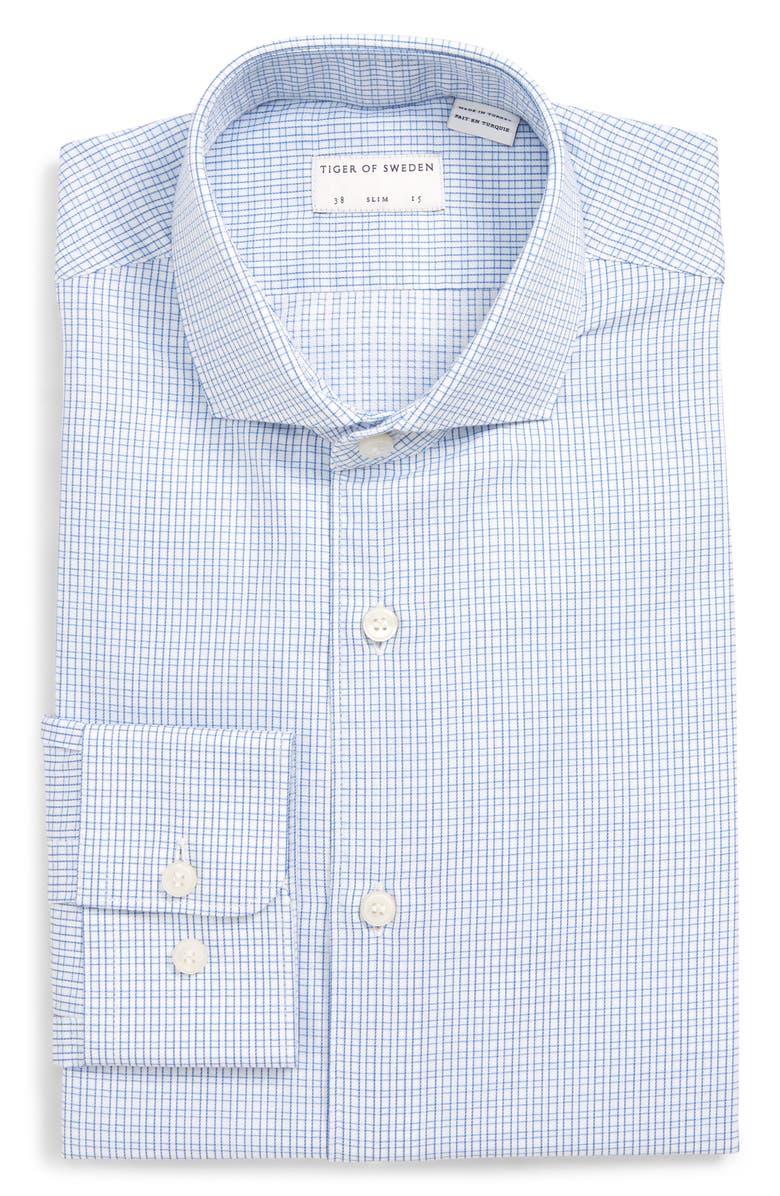 TIGER OF SWEDEN Farrell Slim Fit Check Dress Shirt, Main, color, 451