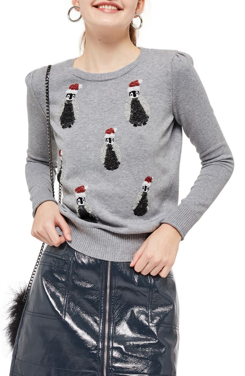 TOPSHOP Sequin Penguin Sweater, Main, color, 021