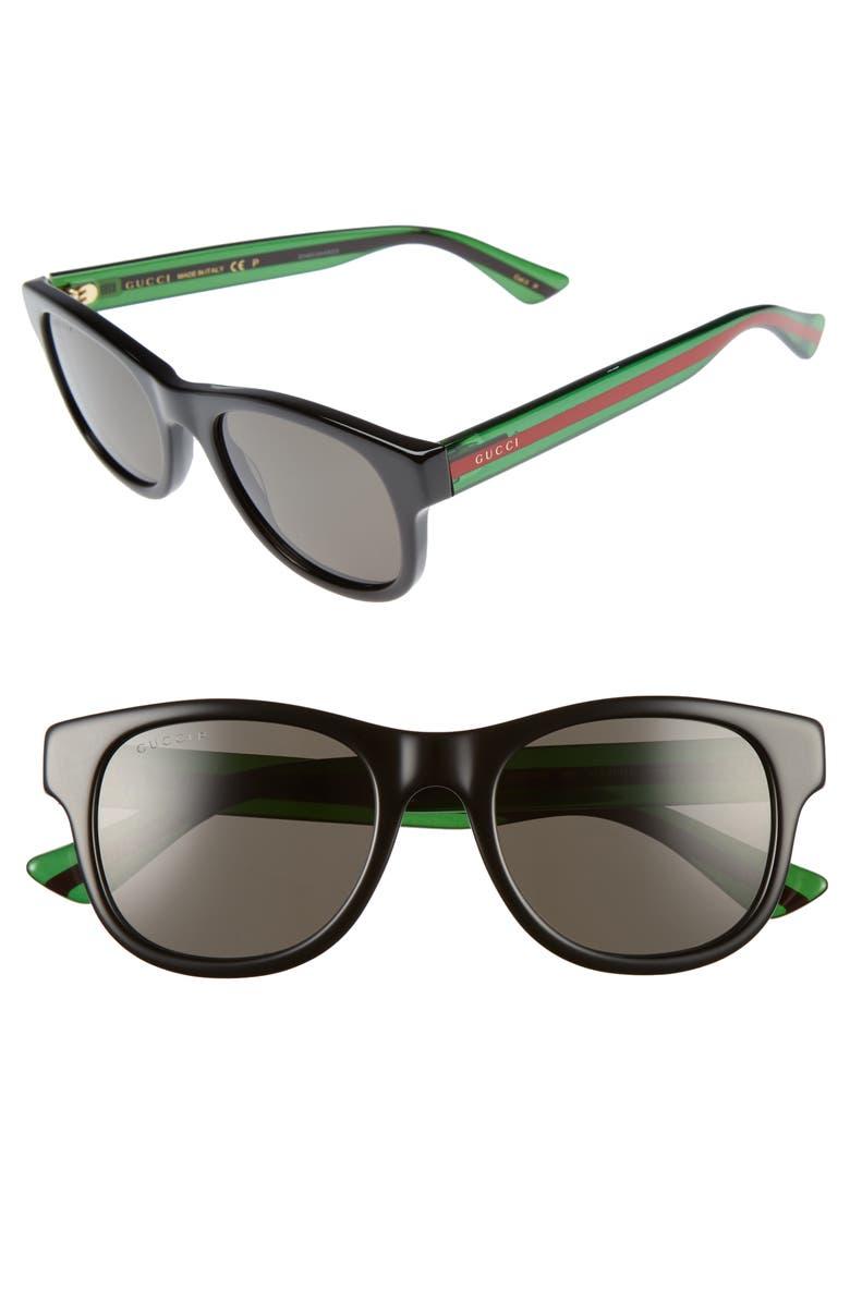 GUCCI Pop Web 52mm Sunglasses, Main, color, BLACK POLAR GREY LENS