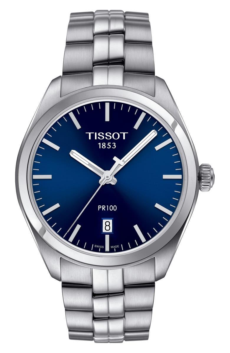 TISSOT PR100 Bracelet Watch, 39mm, Main, color, SILVER/ NAVY/ SILVER