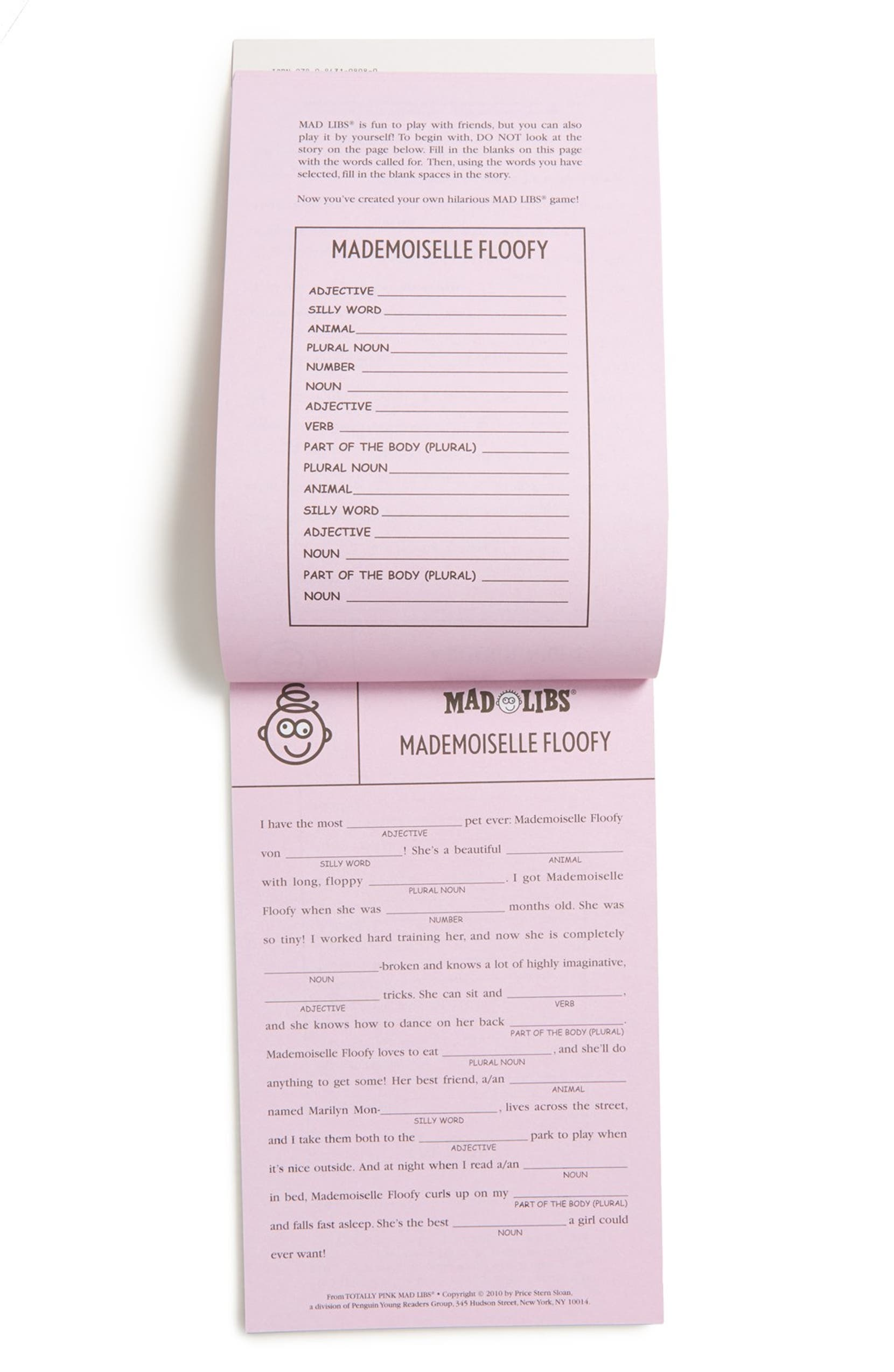 'Totally Pink Mad Libs' Game