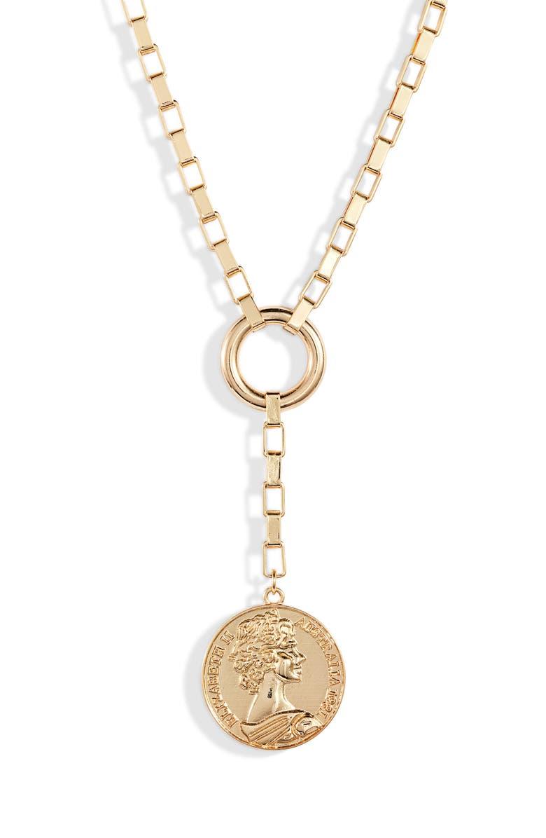 ETTIKA Large Coin Lariat Necklace, Main, color, GOLD