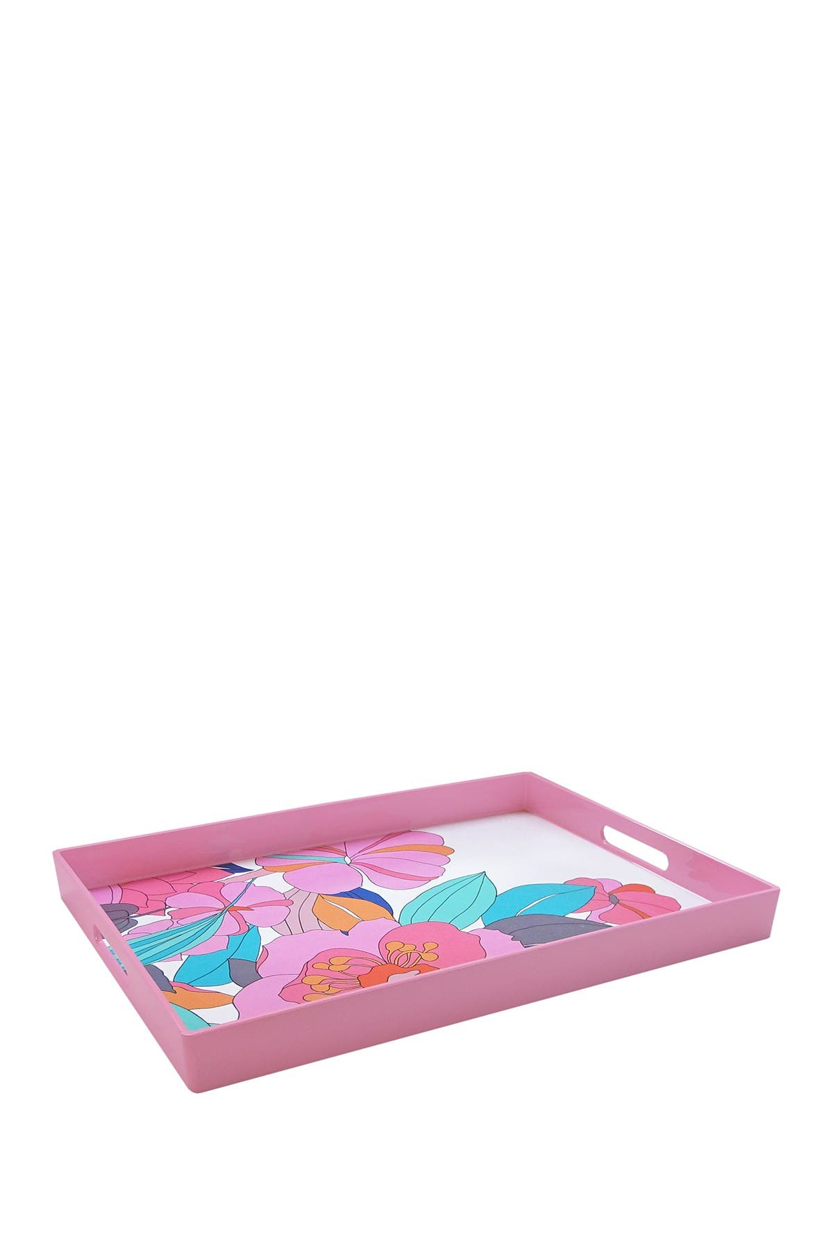 Image of Jay Import Pink Floral Rectangle Tray