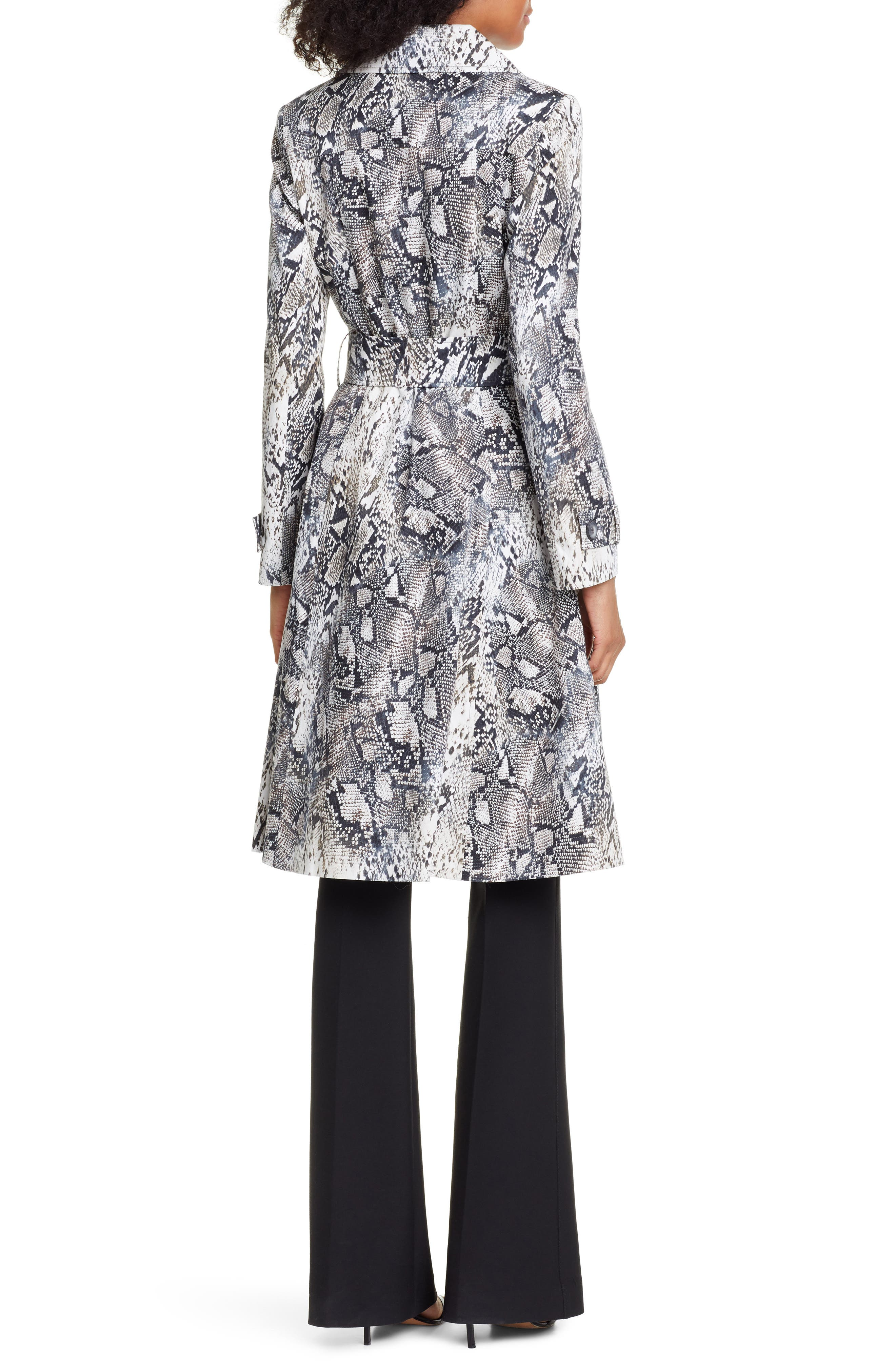 ,                             Snake Print Double Breasted Stretch Cotton Trench Coat,                             Alternate thumbnail 2, color,                             SNAKE