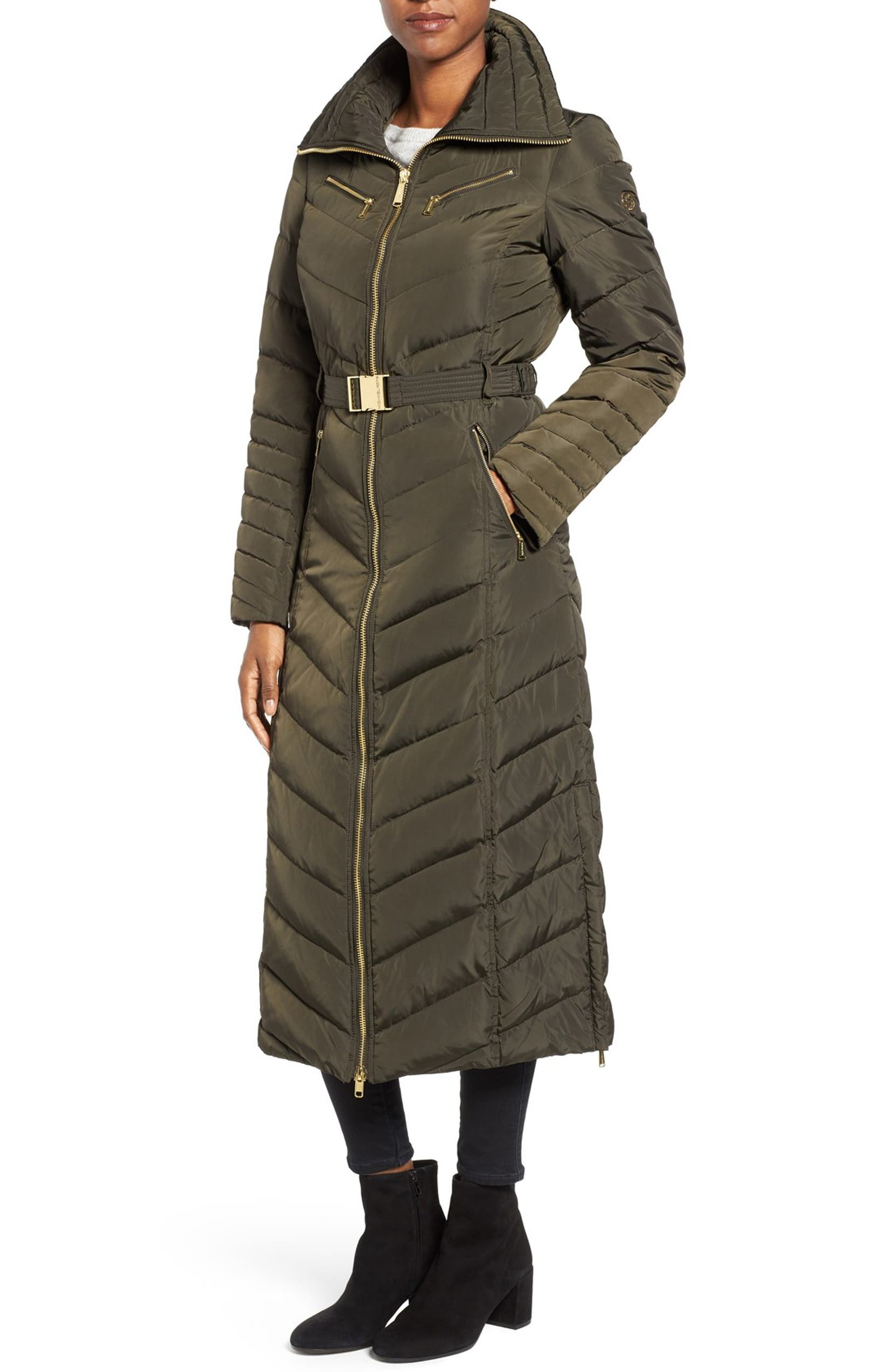 bb0a6d02c Belted Down & Feather Fill Long Coat with Faux Fur Trim Hood