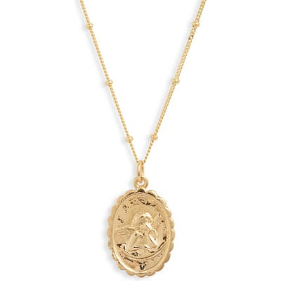 Argento Vivo Oval Angel Coin Pendant Necklace