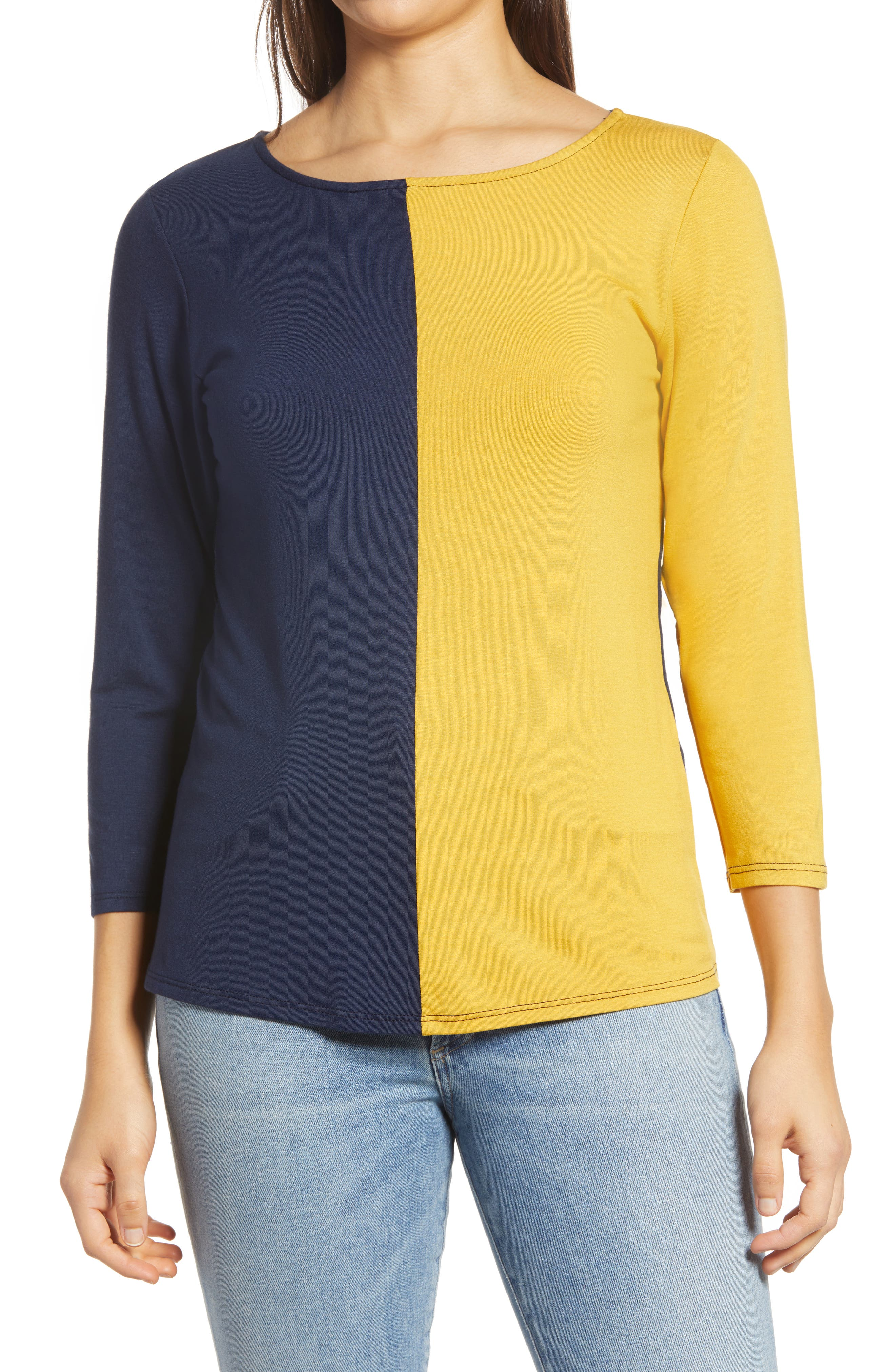 Blocks of contrasting jersey make a bold impression on this easy-fit top that skims the figure and ends in graceful three-quarter sleeves. Style Name: Loveappella Colorblock Top. Style Number: 6134080. Available in stores.