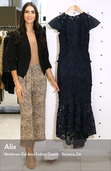Crochet & Lace Flounce Sleeve Dress, sales video thumbnail