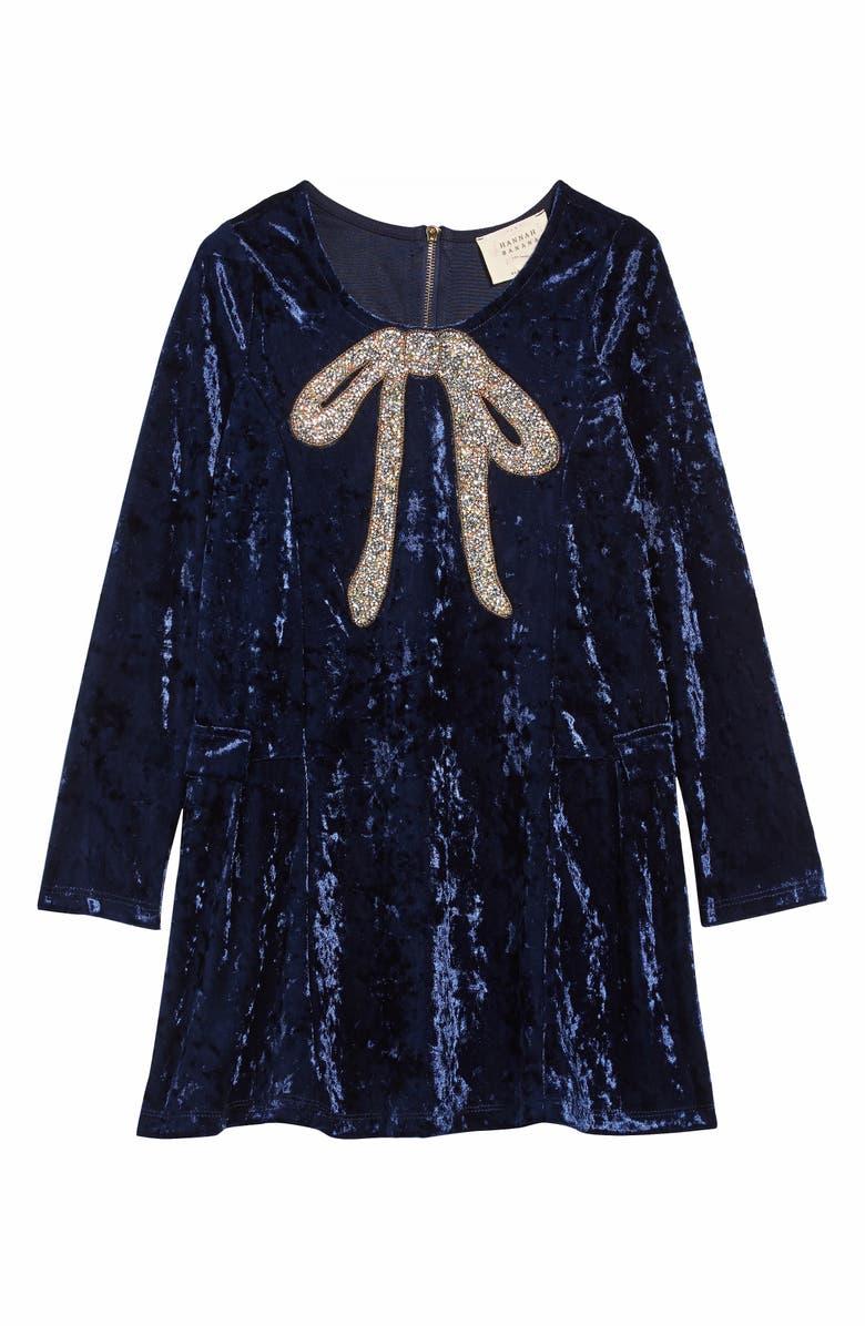 HANNAH BANANA Crushed Velvet Dress, Main, color, BLUE