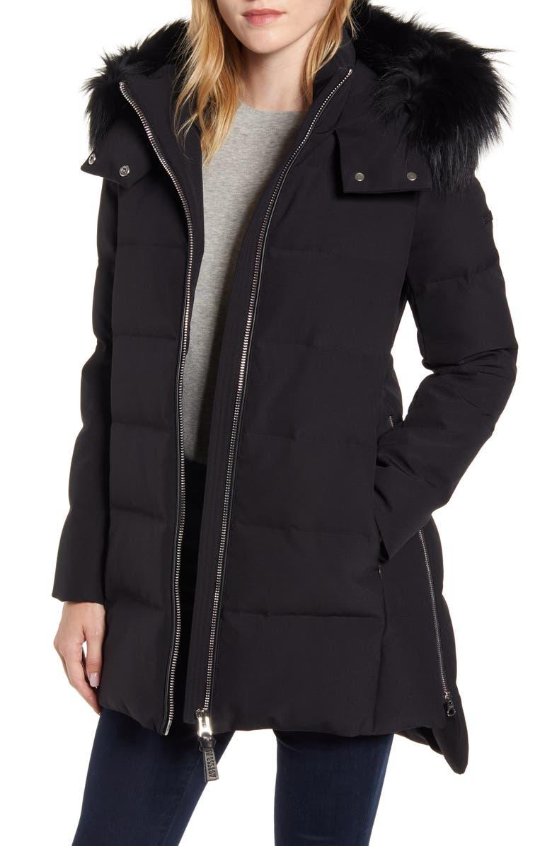 DEREK LAM 10 CROSBY Down Hooded Jacket with Genuine Fox Fur Trim, Main, color, BLACK
