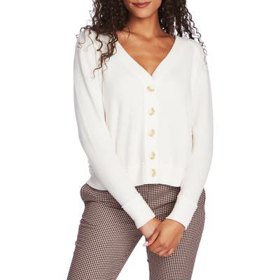 1.state Button Front Crop Cardigan, White