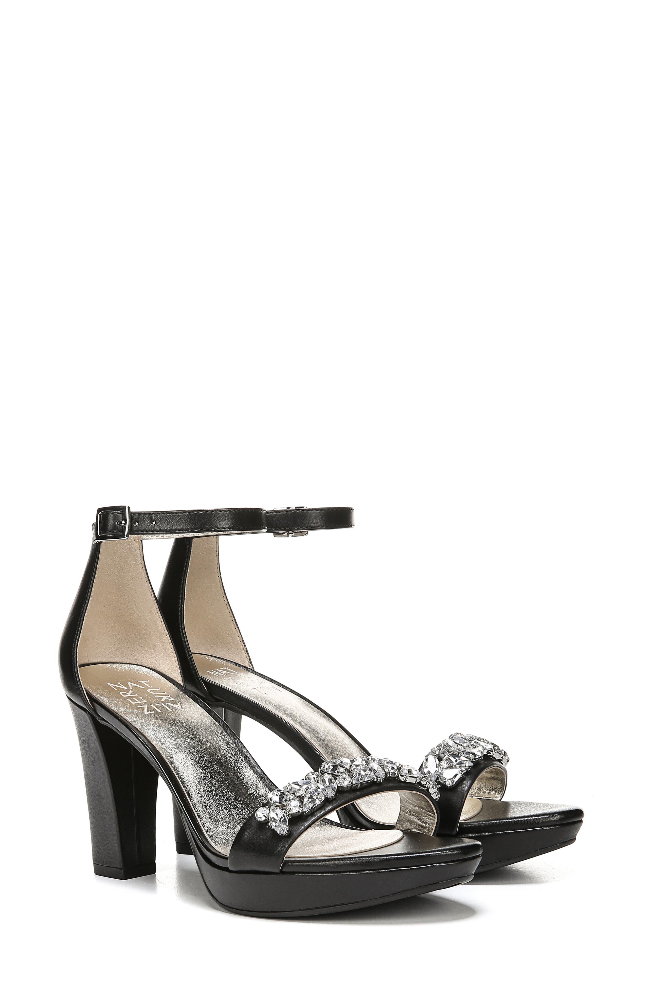 ,                             Cassano Crystal Embellished Sandal,                             Alternate thumbnail 9, color,                             BLACK LEATHER