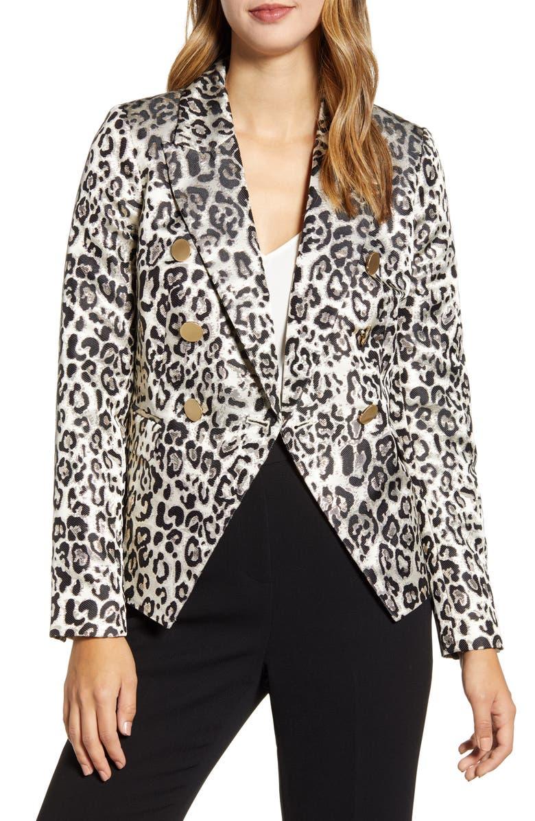 RACHEL PARCELL Metallic Leopard Jacquard Blazer, Main, color, TAN METALLIC LEOPARD
