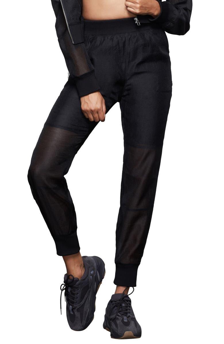 GOOD AMERICAN Sheer Sweatpants, Main, color, 001