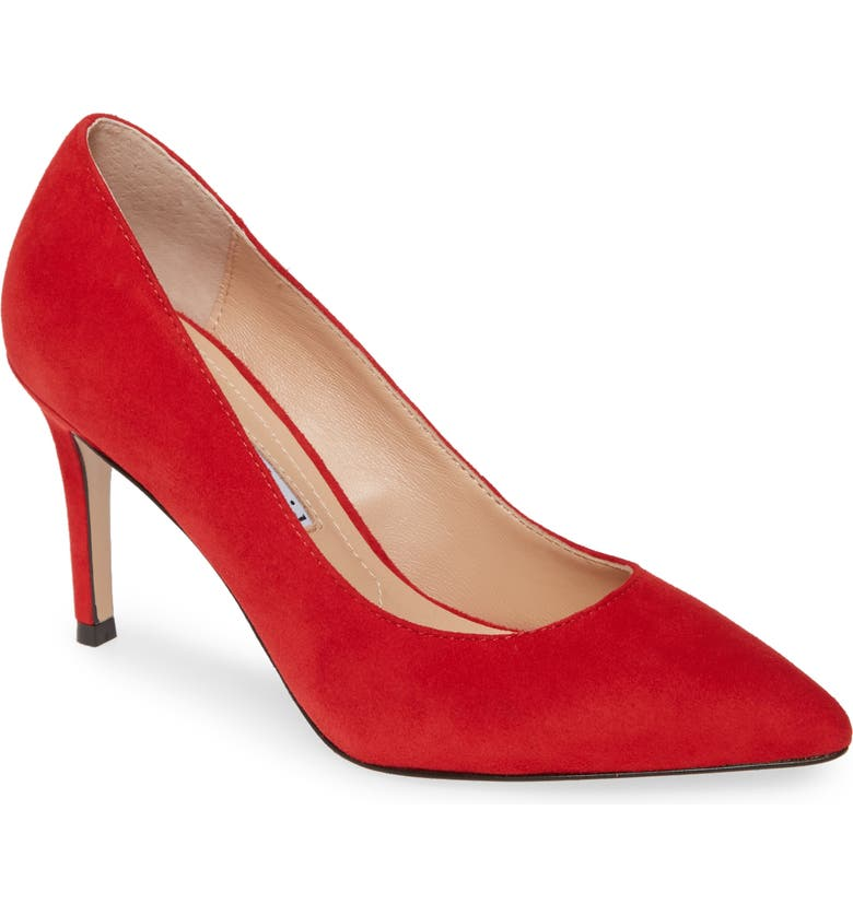 CHARLES DAVID Vibe Pointed Toe Pump, Main, color, RED SUEDE
