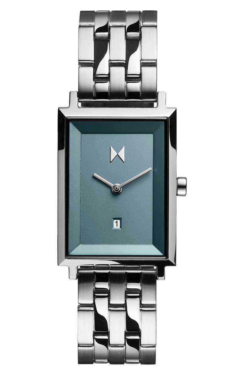 MVMT Signature Square Bracelet Watch, 24mm, Main, color, SILVER/ BLUE/ SILVER