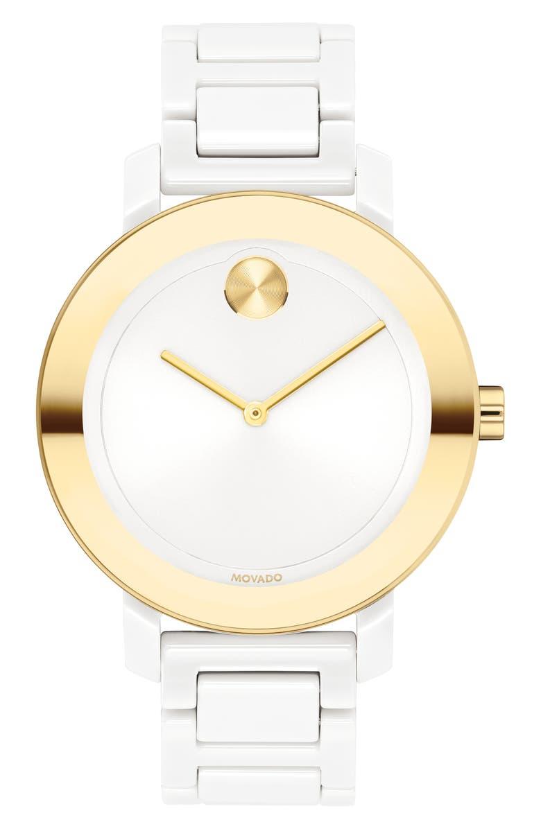 MOVADO Bold Evolution Bracelet Watch, 36mm, Main, color, WHITE/ GOLD