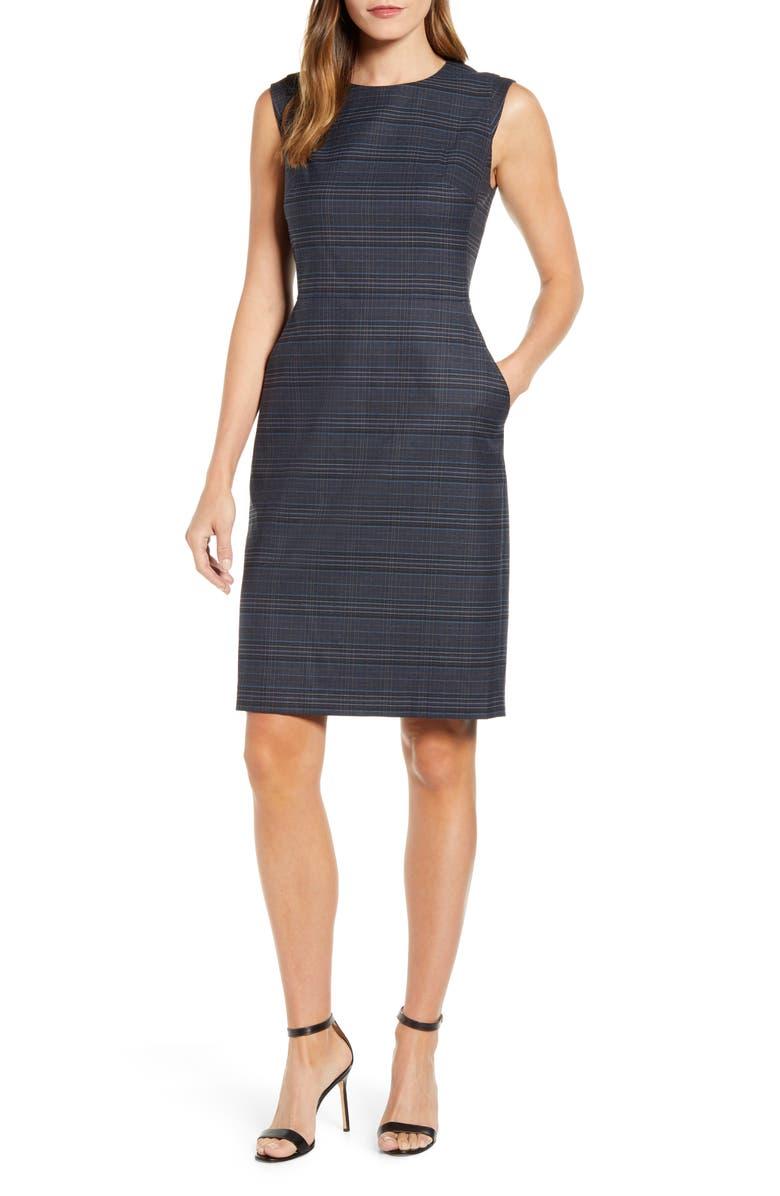ANNE KLEIN Windowpane Plaid Sheath Dress, Main, color, 020