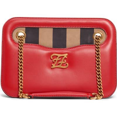 Fendi Karligraphy King Leather Shoulder Bag - Red