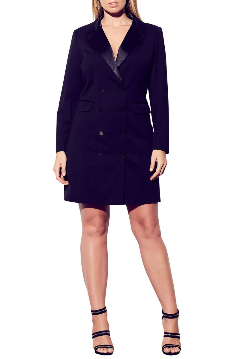 CITY CHIC Tuxedo Dress, Main, color, BLACK