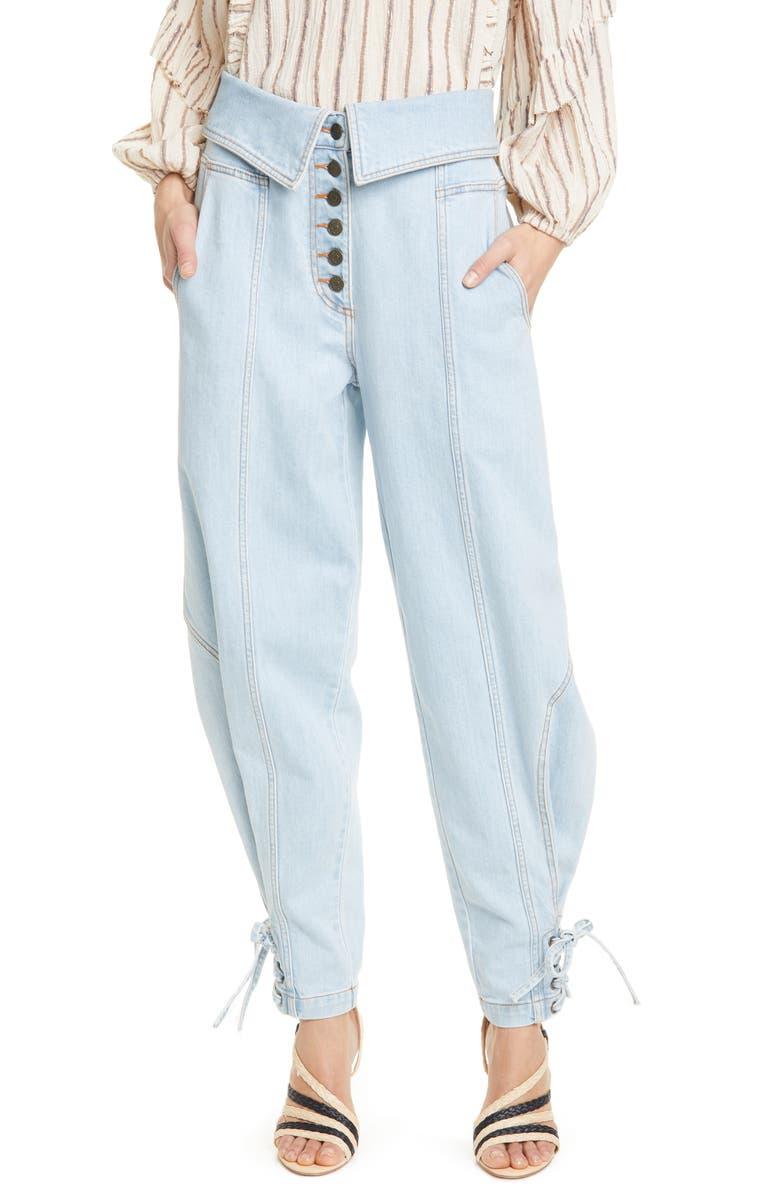ULLA JOHNSON Kingston Foldover Jeans, Main, color, LIGHT WASH