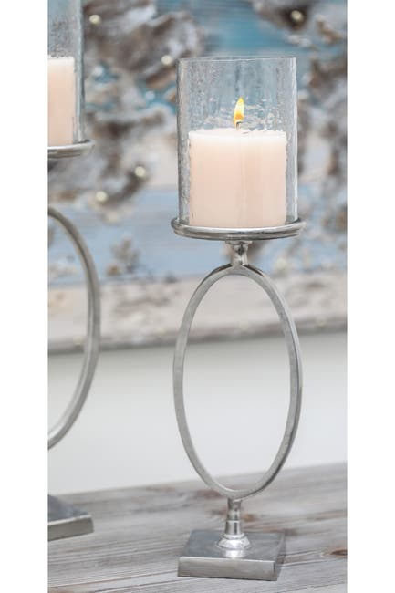 """Image of Willow Row Contemporary 22"""" x 6"""" Aluminum And Glass Hurricane Candle Holder"""