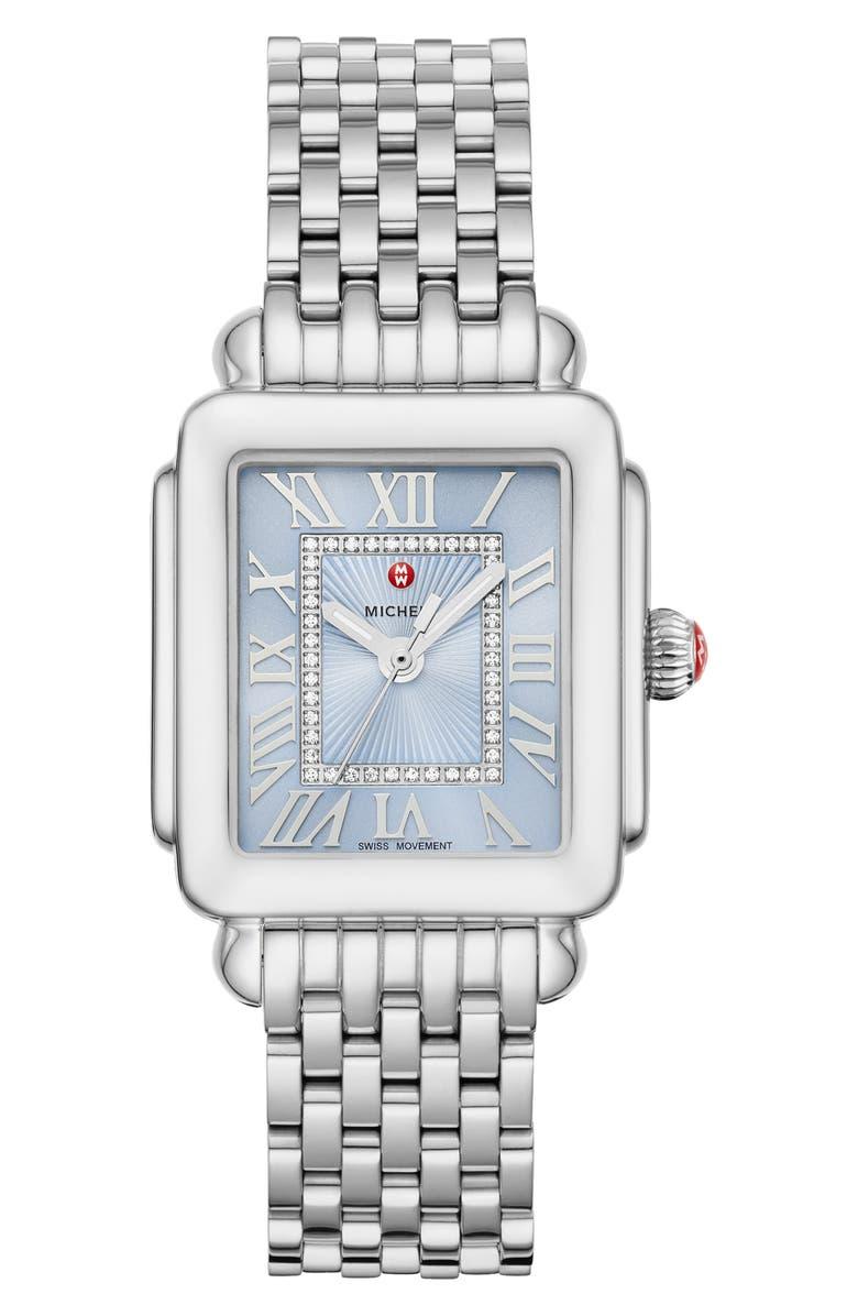 MICHELE Deco Madison Diamond Dial Watch Head & Bracelet, 29mm x 31mm, Main, color, SILVER/ BLUE SKY