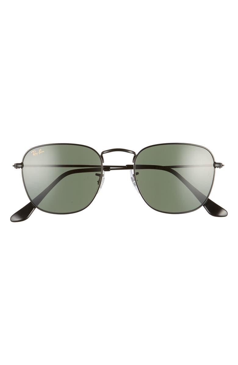 RAY-BAN 51mm Square Sunglasses, Main, color, BLACK/ GREEN SOLID