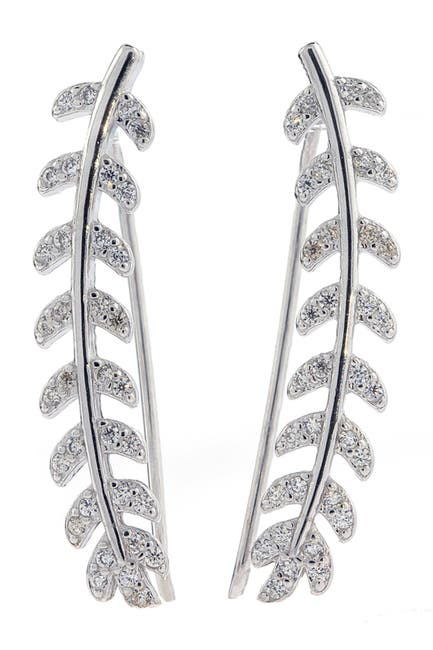 Image of ADORNIA Sterling Silver Swarovski Crystal Accented Leaf Ear Climbers