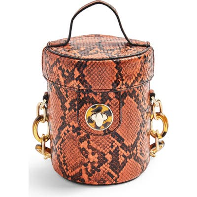 Topshop Shona Barrel Snakeprint Handbag - Brown