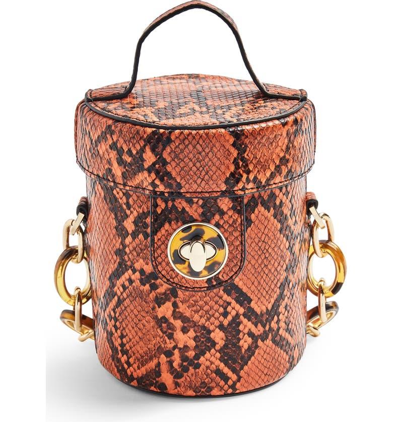 TOPSHOP Shona Barrel Snakeprint Handbag, Main, color, BROWN MULTI