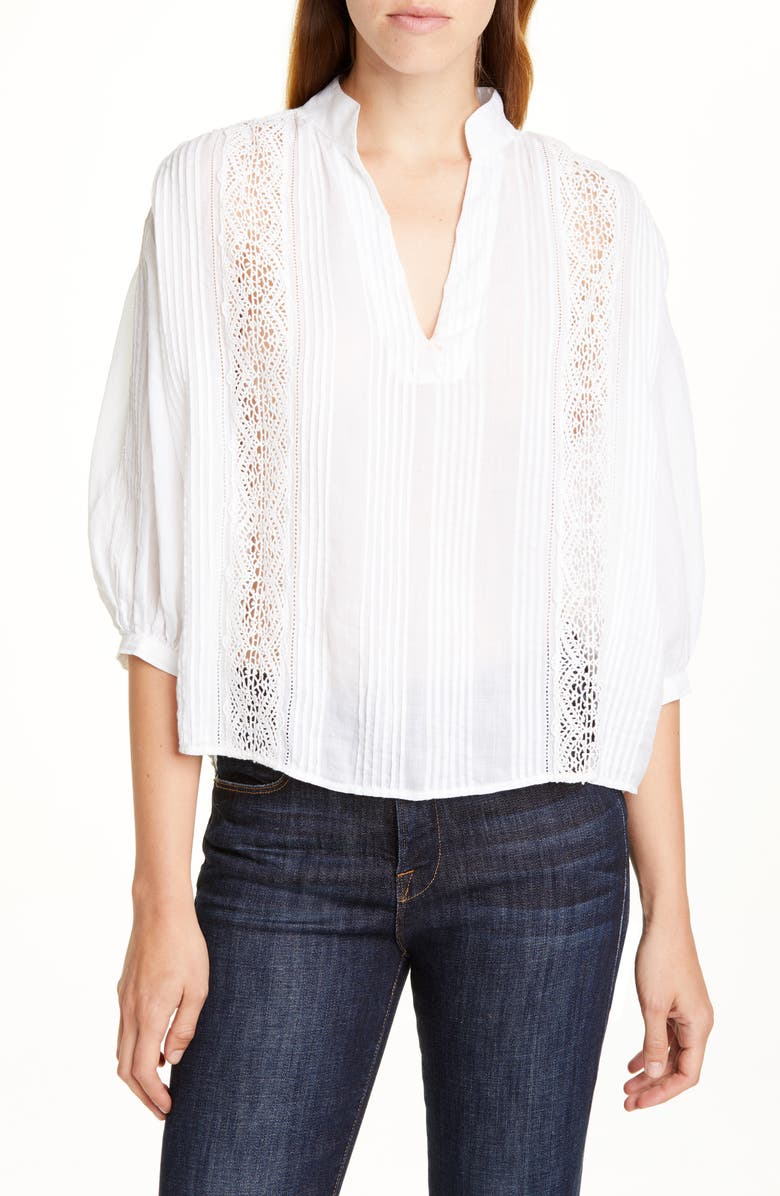 FRAME Cali Lace Inset Popover Top, Main, color, BLANC