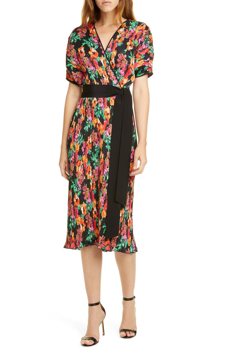 DVF Autumn Floral Micropleat Short Sleeve Dress, Main, color, WATERCOLOR FLORAL BLACK/ BLACK