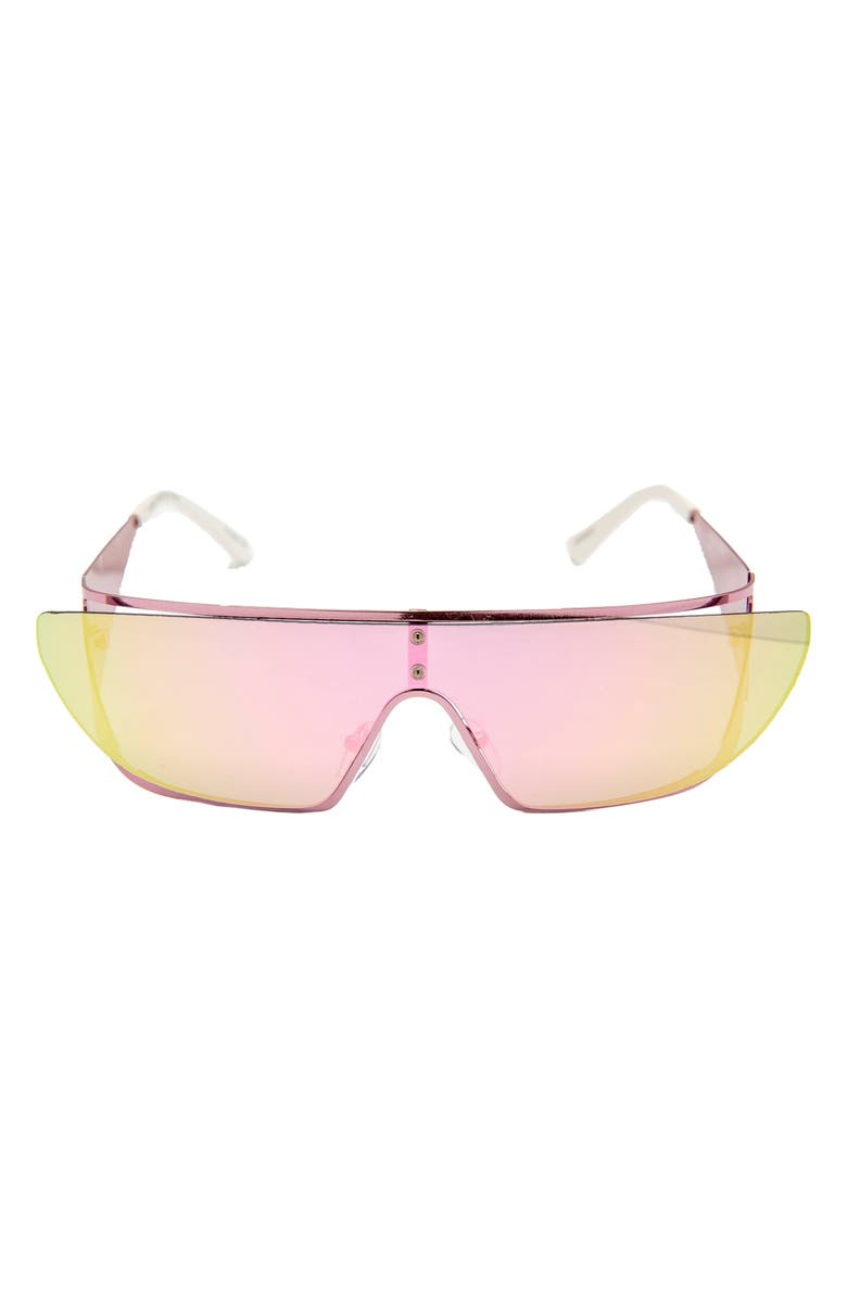 RAD + REFINED Flat Top Shield Sunglasses, Main, color, PINK