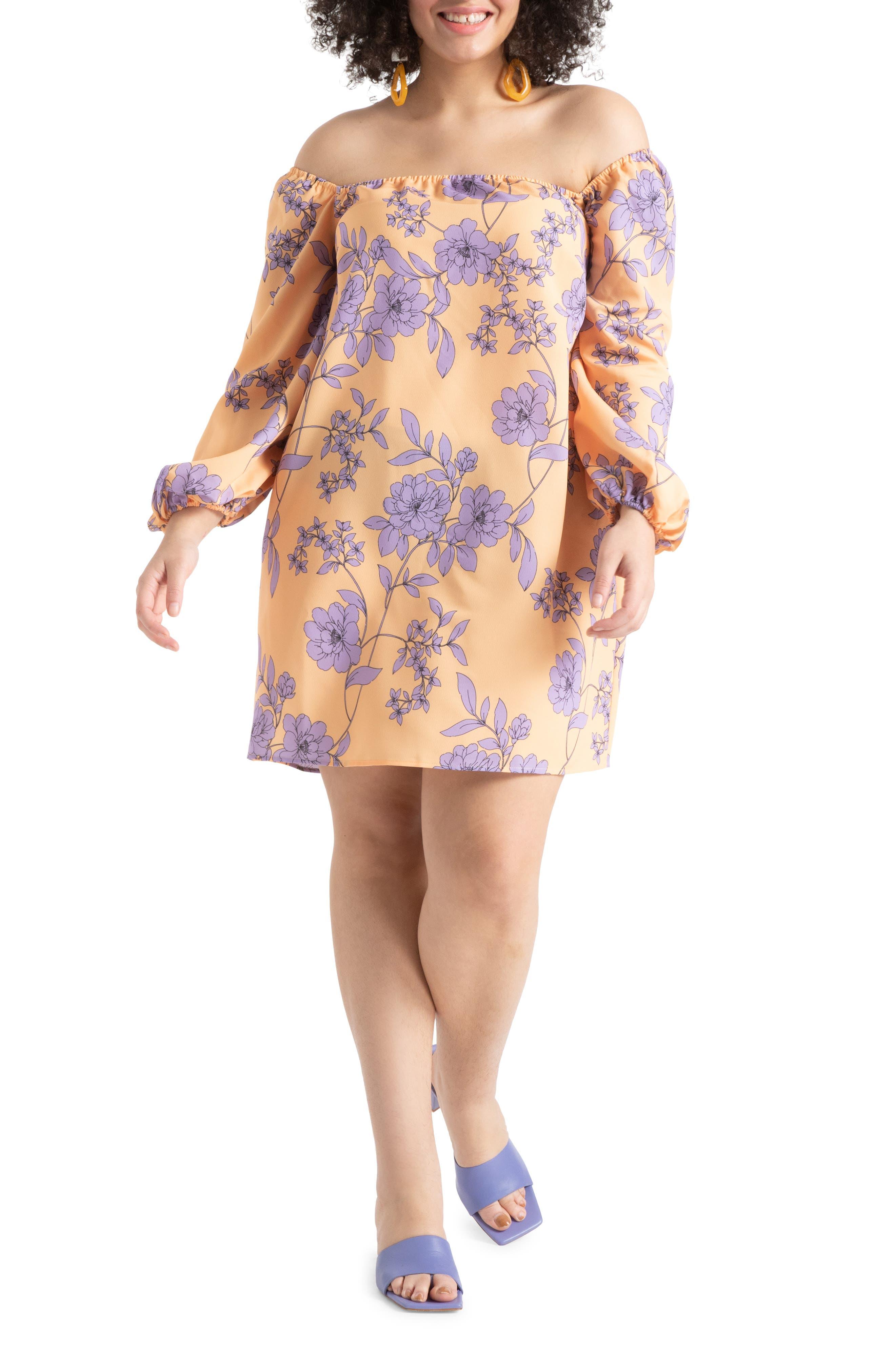Off The Shoulder Floral Print Long Sleeve Midi Dress