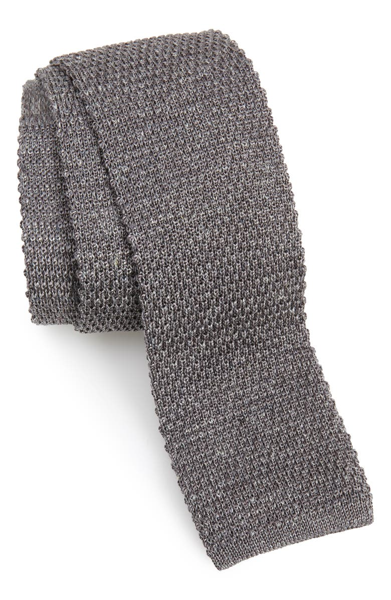 ELEVENTY Knit Silk Tie, Main, color, MEDIUM GREY