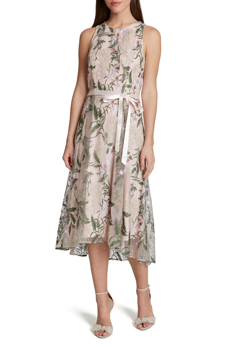 TAHARI Floral Embroidered Midi Dress, Main, color, BLUSH MULTI