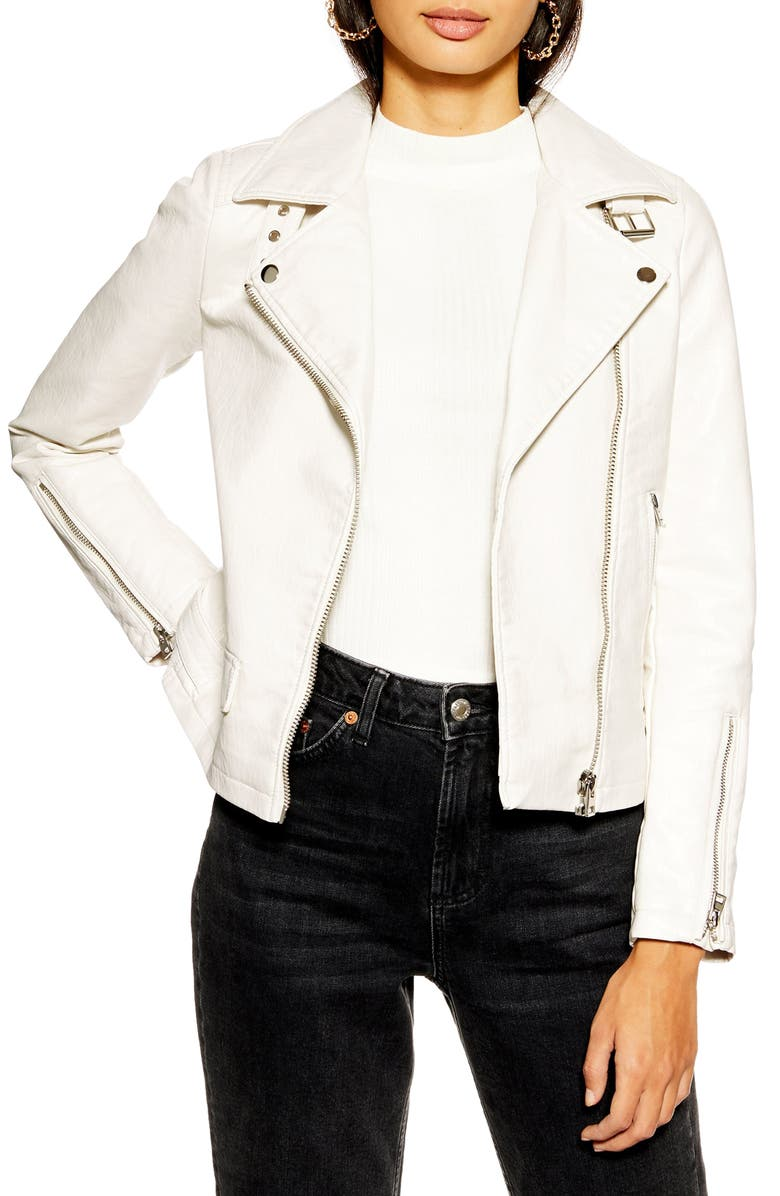 TOPSHOP Lucky Faux Leather Biker Jacket, Main, color, WHITE
