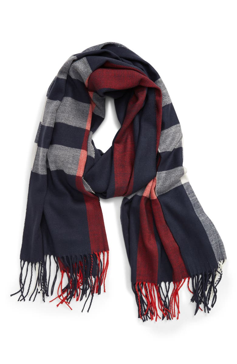 BARBOUR Skye Check Scarf, Main, color, NAVY/ RED