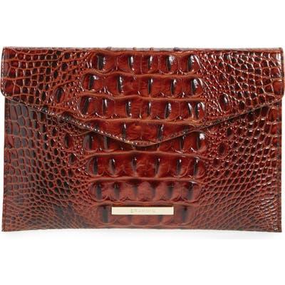 Brahmin Melbourne Croc Embossed Leather Envelope Clutch -