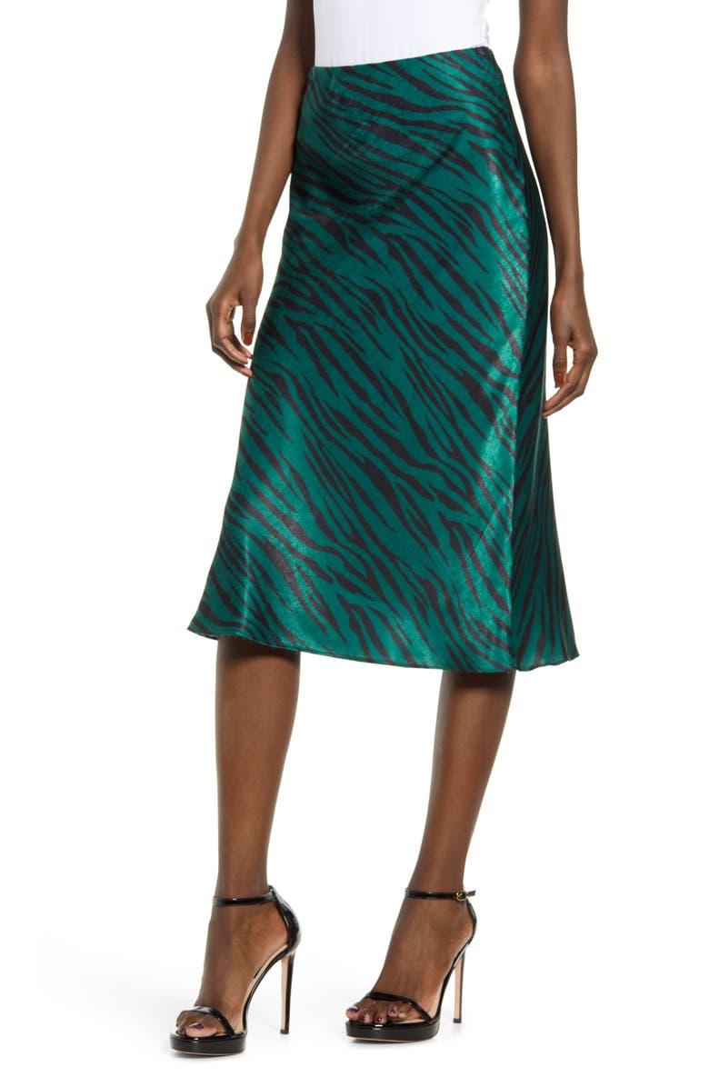 SOCIALITE Zebra Print Bias Cut Satin Skirt, Main, color, GREEN ZEBRA