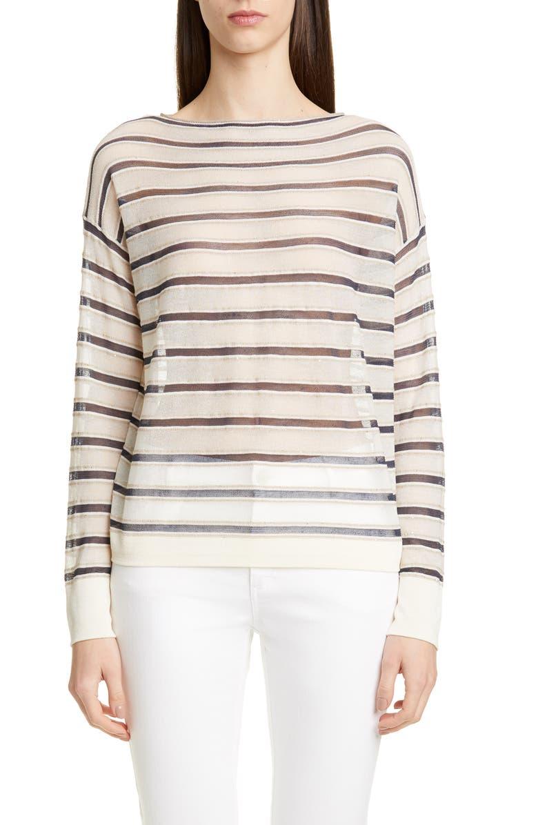 LAFAYETTE 148 NEW YORK Bateau Neck Sheer Voile Sweater, Main, color, CLOUD MULTI