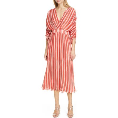 Bytimo Stripe Plisse Midi Dress, Red