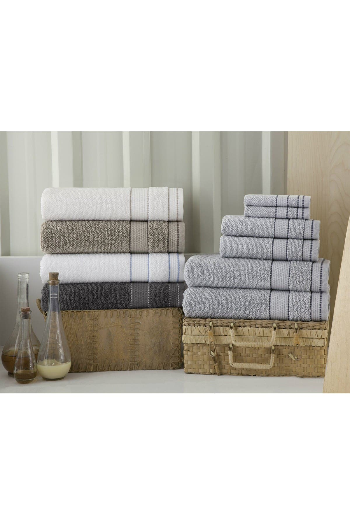Image of ENCHANTE HOME Monroe Turkish Cotton Bath Towel - Silver - Set of 4