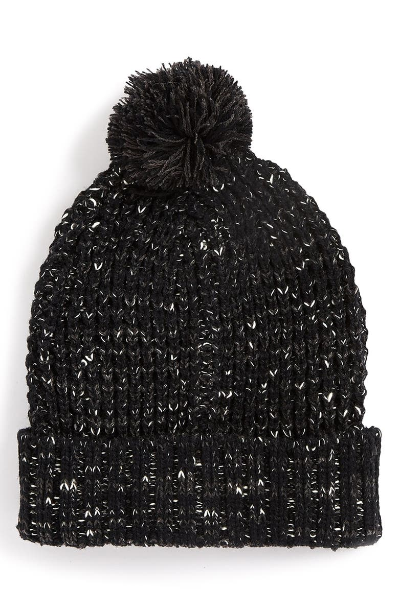 TOPMAN Marled Knit Beanie, Main, color, 001