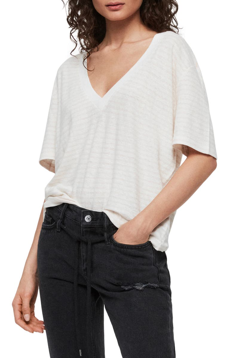 ALLSAINTS Saro Stripe V-Neck Cotton & Linen Tee, Main, color, CHALK/ BLEACH PINK
