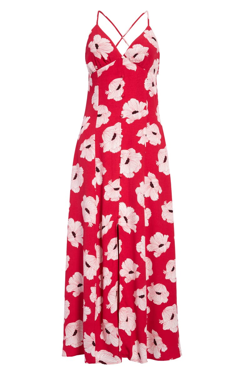 LEITH Cami Maxi Sundress, Main, color, RED BEETROOT LINEAR FLORAL